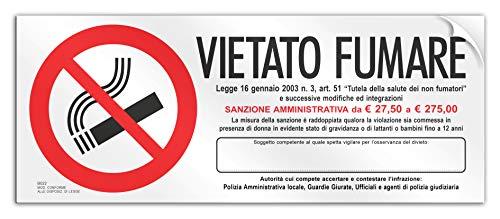 Cartello cm 30x12 - Vietato Fumare con Responsabile (PVC Adesivo morbido)
