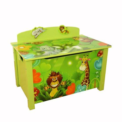 Homestyle4u 644, Kinder Spielzeugtruhe Dschungel Tiere, Aufbewahrungsbox Groß Mit Deckel Klappbar, Holz, Grün Bunt