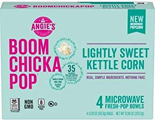 Angie's Boom Chicka Pop Microwave Lightly Sweet Kettle Corn Popcorn, 13.16 oz (Pack of 2)