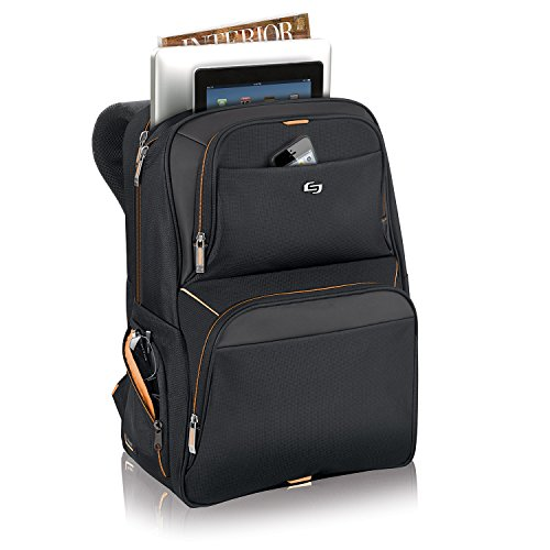 Solo New York Everyday Laptop Backpack, Black, 17.5 x 11.75 x 8