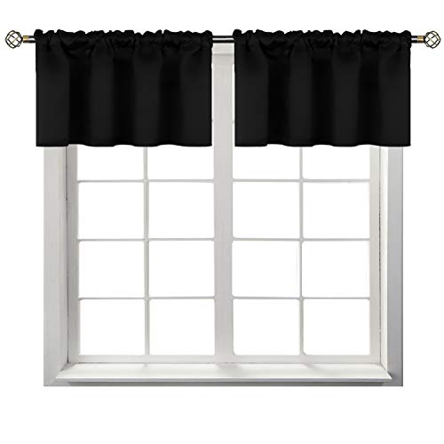 BGment Rod Pocket Valances for Kitchen- Thermal Insulated Room Darkening Tier Valance Curtain for Dinning Room, 42 x 18 Inch, 2 Panels, Black