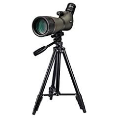Zoom spotting scope with large eyepiece:variable from 20x to 60x magnification;makes it easy to zoom in onto your target. HD 23mm big eyepiece and 45 degree angled eyepiece ergonomic allows more comfortable and professional BAK4 prism and fully multi...