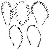 [SCIOLTO] カチューシャ ヘアバンド メンズ レディース 髪留め 黒 シンプル おしゃれ ウェーブ 5種類セット