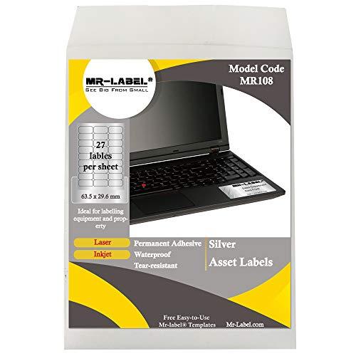 MR-Label Etichette d'argento per attività impermeabili e resistenti agli strappi - per attrezzature | Proprietà - per stampante a getto d'inchiostro e laser - 63,5 x 29,6 mm - 675 etichette