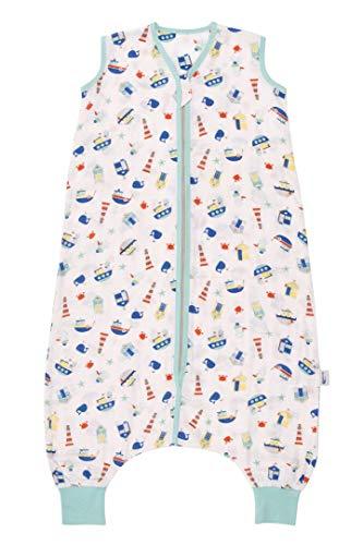 Schlummersack Baby Schlafsack mit Füßen Sommer 0.2 Tog 110 cm dünn Boote | Schlafsack mit Beinen ungefüttert für eine Körpergröße von 110-120cm | Schlafsack Baby Sommer Bambus Musselin