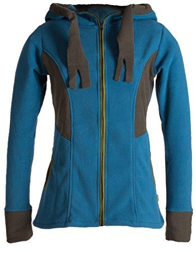 Vishes - Alternative Bekleidung - Zweifarbige Goajacke aus warmem Eco Fleece mit Kapuze türkis 44