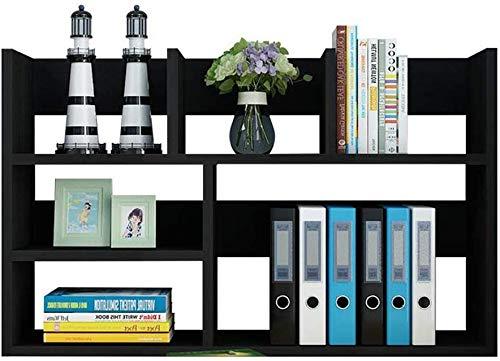 LLDKA Schreibtischregal Kleines Multifunktions-Bücherregal auf Dem Tisch Bücherschrank für Kinder Student Storage,Schwarz,50 * 20 * 48cm