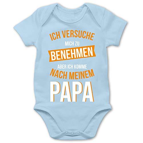 Shirtracer Sprüche Baby - Ich versuche Mich zu benehmen Papa orange - 3/6 Monate - Babyblau - Body Langarm Onkel - BZ10 - Baby Body Kurzarm für Jungen und Mädchen