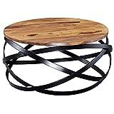 FineBuy Table Basse Bois Massif Sheesham Table de Salon 60 x 30 x 60 cm | Table d'appoint Style Industriel | Meubles en Bois Naturel Table de Sofa Cadre en métal