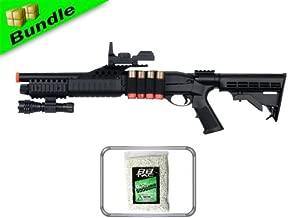 BBTac BT-BT180C2+10000BB RIS Package Pump Action Airsoft Shotgun with 10000 Ball Bearing and Flashlight/Mock Red Dot Scope