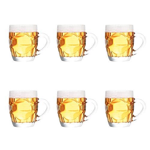 Vidrio Jarra De Cerveza con Mango,Transparente Jarro De Cerveza Juego De 6 Copas,Hoyuelos Jarras De Cerveza para Picnic Hombres,Partido Regalo Jarras De Cerveza Steins Gran Capacid-A Transparente