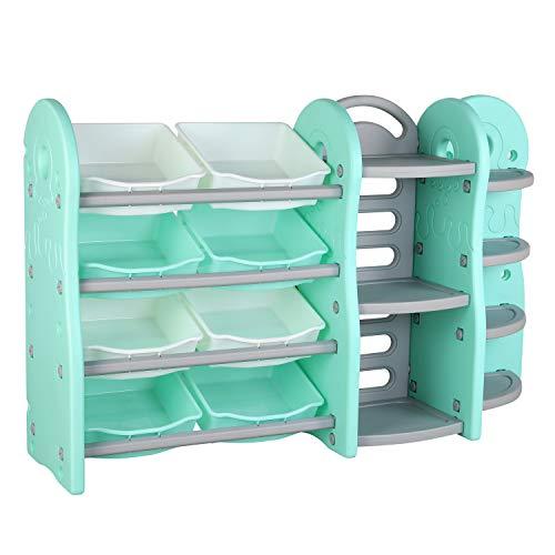 POTBYKidsToyStorageOrganizer, 4 Layer Children Play Collection Shelves, Bookshelf & Corner Rack, with8PlasticDrawersBins, for GirlsandBoys in BedroomPlayroomLivingRoom (Green)