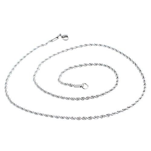 SODIAL(R) Collar Cadena Acero Inoxidable Hombre 2.4mm Elegante