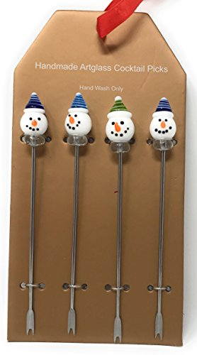 Nantucket Home Christmas Glass Art Stainless Steel Cocktail Picks, Set of 4 (Snowmen)