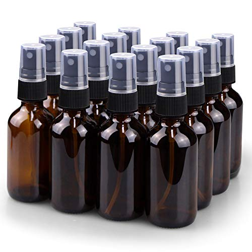 Spray Bottle, Wedama 2oz Fine Mist Glass Spray Bottle, Little Refillable Liquid Containers for Watering Flowers Cleaning(16 Pack, Amber)
