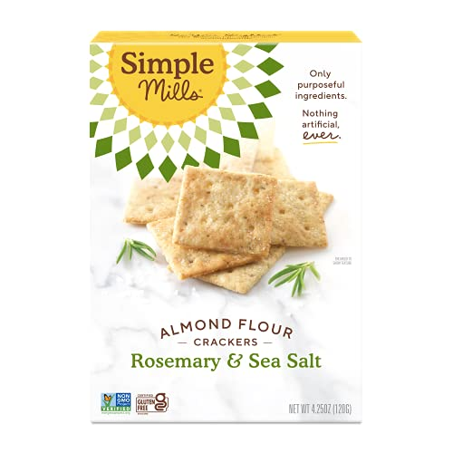 Simple Mills Almond Flour Crackers, Rosemary & Sea Salt, Gluten Free, Flax Seed, Sunflower Seeds, Corn Free, Low-Calorie Snacks, Nutrient Dense, 4.25 Ounce, Pack of 1