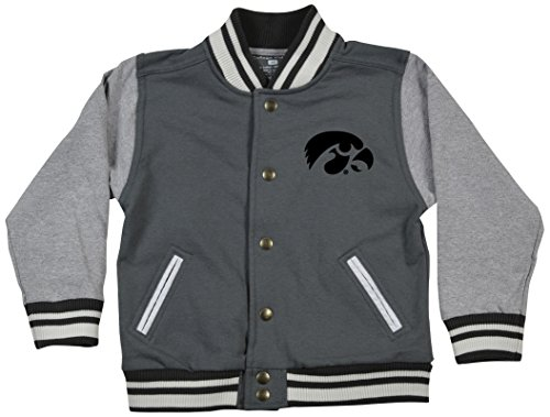 College Kids 25435 NCAA Iowa Hawkeyes Children Unisex Toddler Letterman Jacket, 3 Toddler, Pewter/Oxford