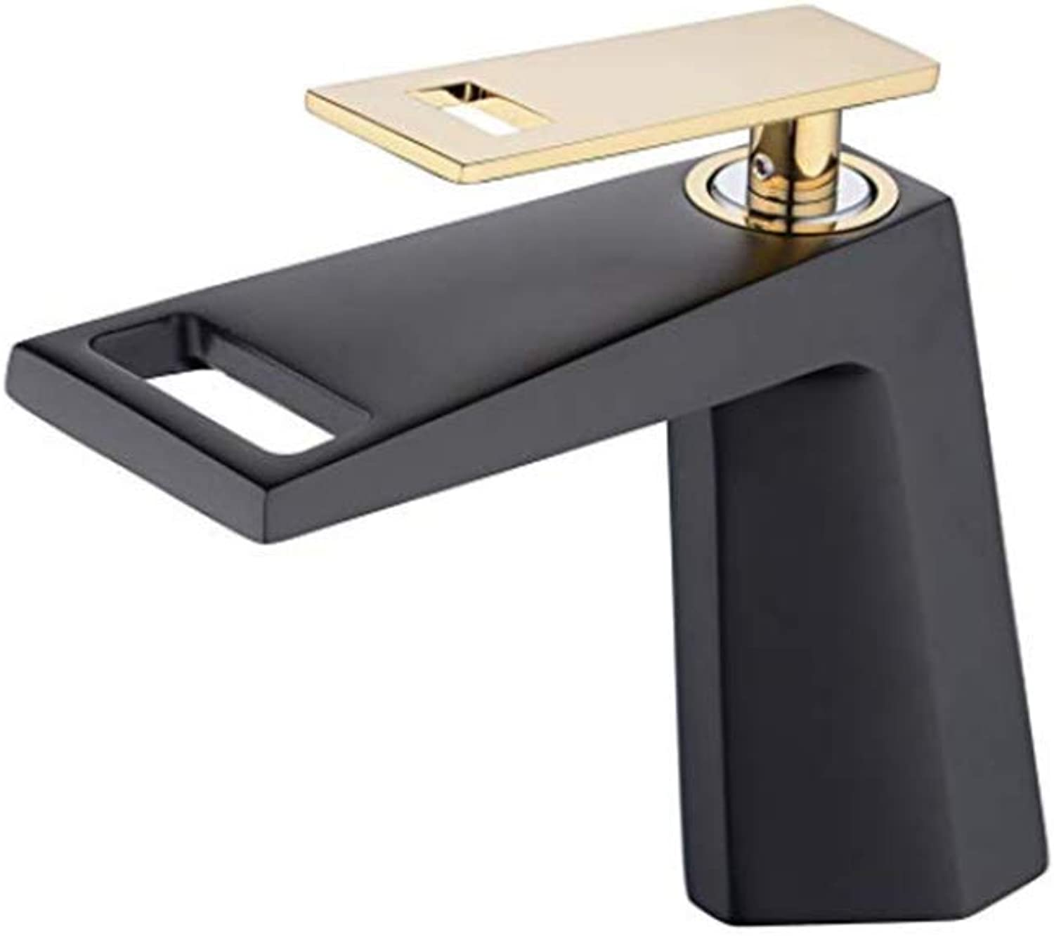 Basin Faucetbasin Mixer Tap in Bathroom, Designer Style,Solid Brass, Black color and golden Handle