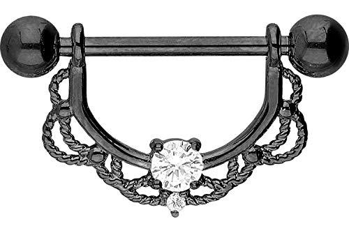 PIERCINGLINE Chirurgenstahl Nippelpiercing Barbell | ORIENTALSICHES Design + KRISTALL | Piercing Brust Nippel Brustwarze | Farb & Größenauswahl