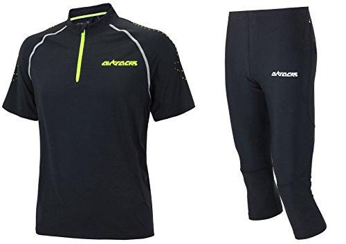 Airtracks Funktions Laufset Laufhose 3/4 Lang Pro Air + Laufshirt/Kompressions - T-Shirt Kurzarm Pro Team/Atmungsaktiv/Schnelltrocknend/Reflektor - schwarz - S
