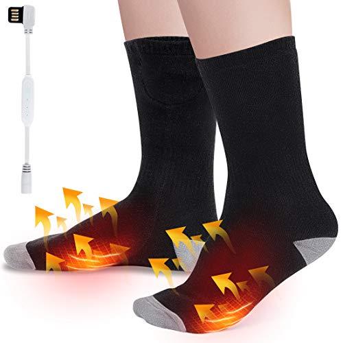 Wchiuoe Calcetines Eléctricos con Calefacción con 3 ajustes de Calefacción,para Exteriores, Senderismo, Caza, Camping, Equitación, Esquí, Calentar Artritis(Este Producto no Incluye energía móvil)