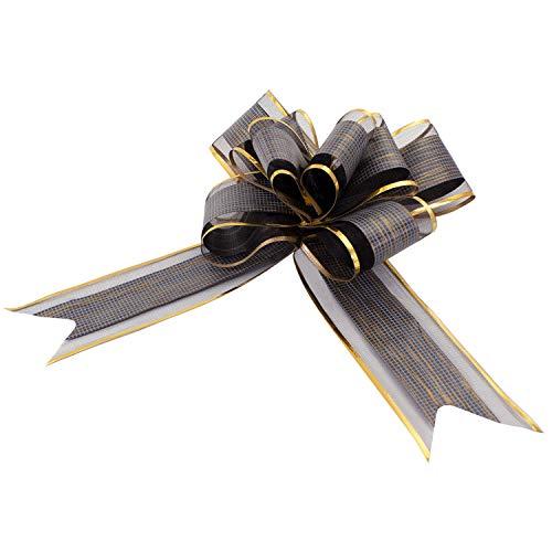 Oblique Unique® Geschenk Schleife mit Geschenkband Glänzend für Geschenke Tüten Zuckertüten zum Basteln Dekorieren Verzieren - wählbar (Schwarz)