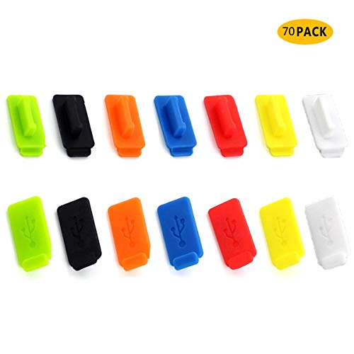 Yueser 70 Pcs Cubierta del Puerto USB de Silicona Tapon ta Prueba de Polvo Cubiertas Antipolvo USB Cubiertas Antipolvo para Smartphones,Portátiles (7 Colores)