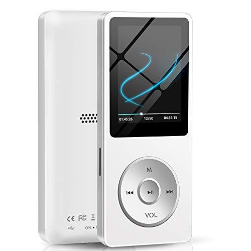Lettore MP3, Lettore Musicale da 16GB per Sport e Corsa 30 Ore Lettore Musicale digitale portatile con 1,8 Pollici Schermo con Altoparlante/Radio FM/Registratore Vocale, Espandibile fino 128GB