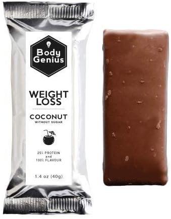 BODY GENIUS Weight Loss (Coconut). 40gx13 barritas. Altas en Proteína, Bajas en Hidratos y Sin Azúcar Añadido. Ideal para Deportistas. Hecho en ...