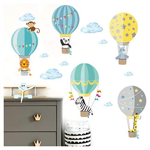 Little Deco Aufkleber Kinderzimmer Tiere im Ballon I 109 x 64 cm (BxH) I Wandaufkleber Wandsticker Wandtattoo Heißluftballon Junge Babyzimmer Sticker DL206-22