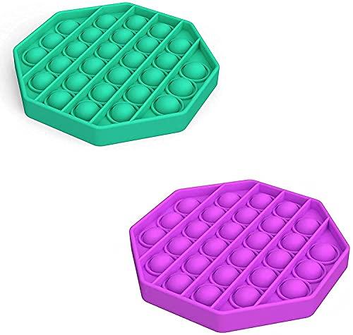 ZNNCO Push-Pop-Blase, sensorisches Spielzeug, Stressabbau und Anti-Angst Spielzeug für Kinder und Erwachsene (universell) (2 Stück, achteckig, grün + lila)