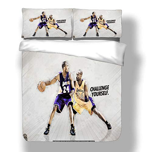 Duvet Cover Set Kobe Los Angeles Basketball Player 24 Bedding Black Mamba Bryant Lakers Super Star Reverse Lay-Up Double Pump Quilt Coverlet with 2 Pillow Shams Purple Gold Dynasty