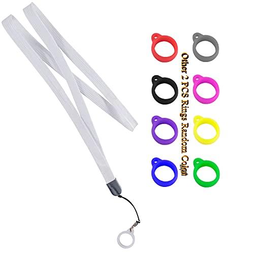 Colar de silicone de cordão antiperda com canetas de tamanho semelhante, contém borracha de silicone, suporte de pingente de cordão para chaveiro, capa de chaveiro de dispositivo não incluída, Branco