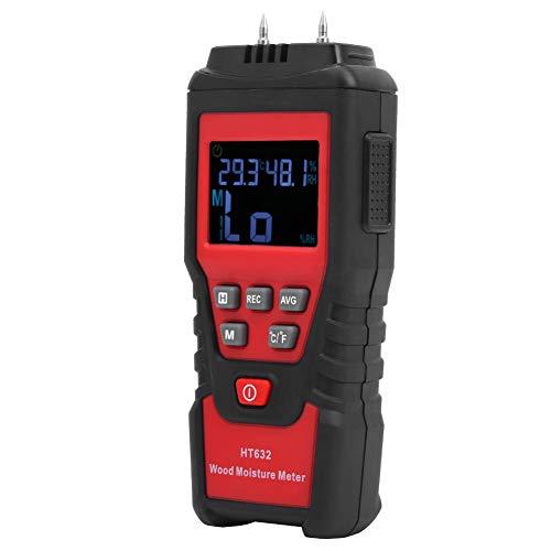 HT632 Medidor de Humedad de Madera Digital, Detector de Moho, Medidor de Humedad de Madera, Higrómetro, Detector de Cemento de Papel Húmedo, con Diseño de Sonda Integrada, para Probar la Humedad