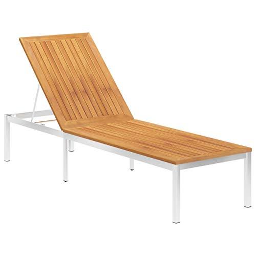 vidaXL Akazienholz Massiv Sonnenliege mit Verstellbarer Rückenlehne Gartenliege Relaxliege Gartenmöbel Liege Liegestuhl Strandliege Edelstahl