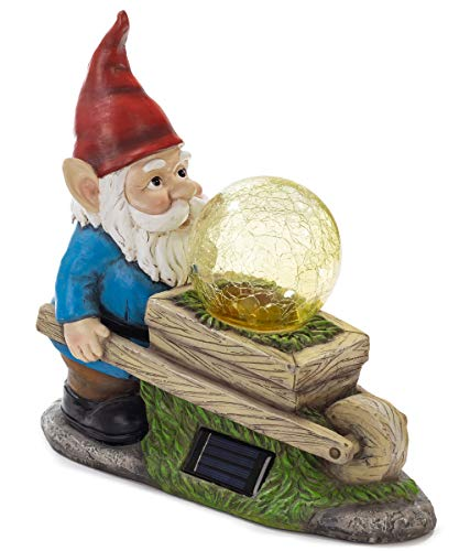 VP Home Wheelbarrow Gnome with Magic Orb Solar Powered LED Outdoor Decor Garden Light