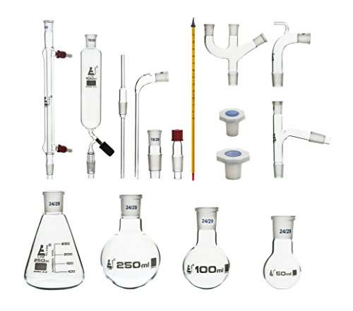 Eisco Labs Advanced Organic Chemistry Distillation Glassware Set 24/29, 17 Piece, 22 Interchangeable Fittings, with Case