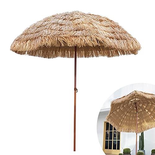 LIUD Sombrilla Inclinable Jardin Hawaii Parasol De Paja Φ180cm Sombrilla Parasol Playa Inclinación Sombrillas Terraza Altura Ajustable/Impermeable/Anti-UV/para Piscina Backyard
