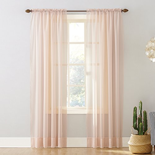 """No. 918 53566 Emily Sheer Voile Rod Pocket Curtain Panel, 59"""" x 95"""", Whisper Pink"""
