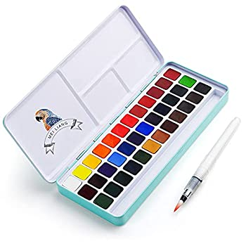 MeiLiang Watercolor Paint Set 36 Vivid Colors in Pocket Box with Metal Ring and Watercolor Brush Perfect for Students Kids Beginners and More