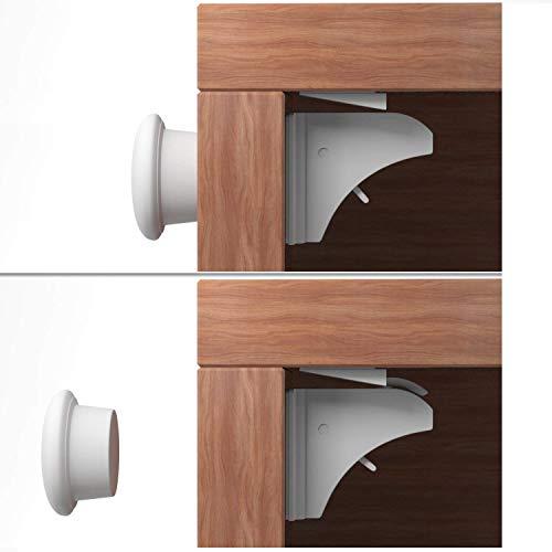 Baby Safety Magnetic Cabinet Lock Set DREAMTIMEJOY Child Safety Locks Kids Toddler Hidden Locks Doors, Drawers, Cabinet Locking System Kit | No Drilling | No Tools Or Screws Needed (4 Locks+1 Key)