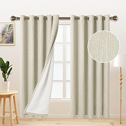 LORDTEX Burlap Linen Look Textured Blackout Curtains for Bedroom with Thermal Insulated Liner - Heavy Thick Grommet Window Drapes for Living Room, 70 x 84 Inch, Ivory, Set of 2 Panels