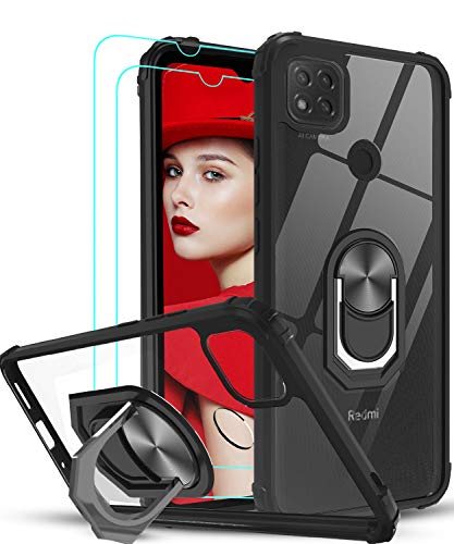 LeYi für Hülle Xiaomi Redmi 9C/Xiaomi Redmi 9C NFC Handyhülle mit Panzerglas Schutzfolie(2 Stück),Ringhalter Schutzhülle Crystal Clear Acryl Cover Air Cushion Handy Hüllen Bumper Hülle Schwarz