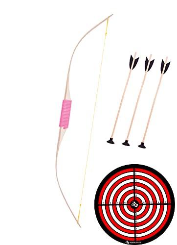 mankitoys Arco infantil de 70 cm de largo, de madera, con 3 flechas y diana para la princesa, a partir de 3 años de tiro con arco, juego de arco para niños (diana clásica)
