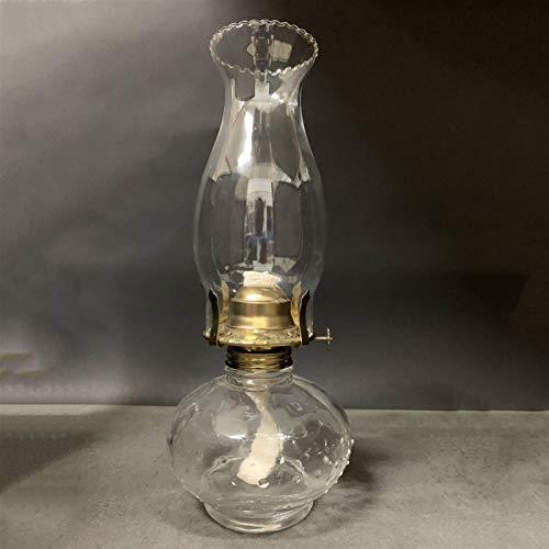 Nixi888 30 cm a prueba de viento de cristal Kerosene lámpara antigua redonda de cristal base aceite LampHogar luz de emergencia para cocina y dormitorio retro lámpara de parafina