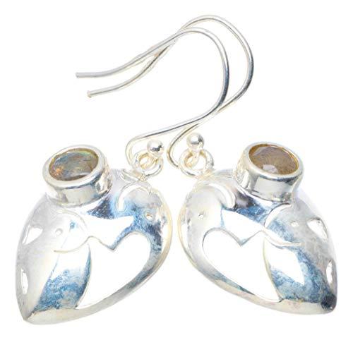Natural Blue Fire Labradorite Handmade Unique 925 Sterling Silver Earrings 1.5' AU0135