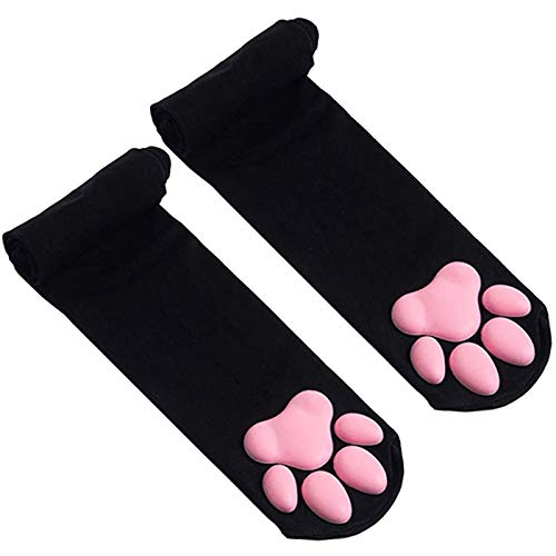 WDNM 3D Silicone Cat Paw Socks, Thigh High Socks, Cute Cat Paw Pad Socks for Girls Women, 3D Kitten Claw Cosplay Stockings (Black)