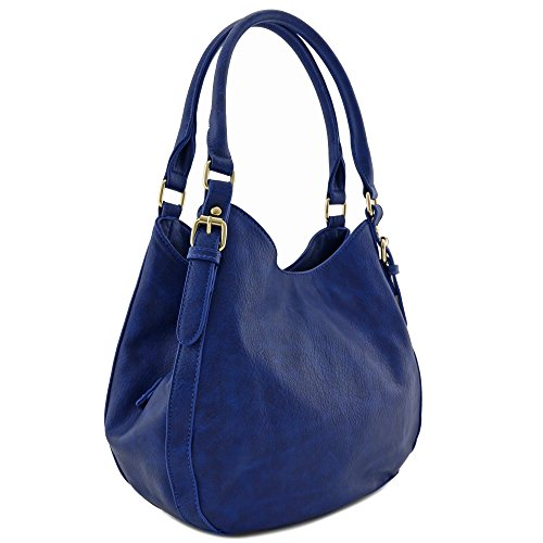 Light-weight 3 Compartment Faux Leather Medium Hobo Bag (Royal Blue)