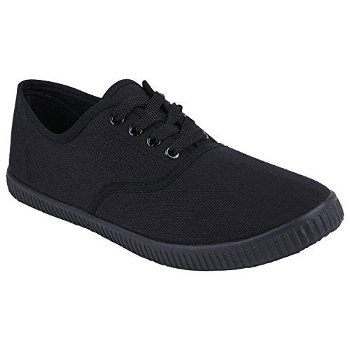 stiefelparadies Unisex Stoff Herren Turn Freizeit Damen Sneaker Low Sneakers Bequem Denim Flats Schuhe 130822 Schwarz Black 42 Flandell