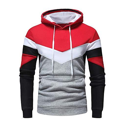 Herren Frühling Herbst Casual Sport Laufen Warm Und Bequem Langarm Hoodie T-Shirt Gr. Medium, rot